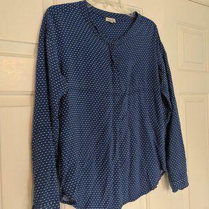 Splendid Anthropologie blue long sleeve blouse M
